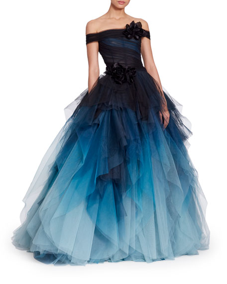 MARCHESA OFF-THE-SHOULDER CORSET BODICE OMBRE TULLE BALL GOWN W/ VELVET FLOWER CORSAGE