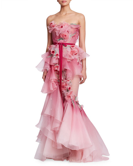 MARCHESA STRAPLESS CORSET-BODICE 3-D ROSE SILK ORGANZA MERMAID EVENING GOWN