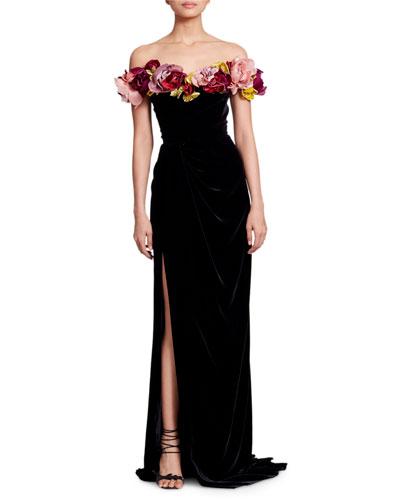 Off-the-Shoulder 3-D Flower Corsage Velvet Column Evening Gown