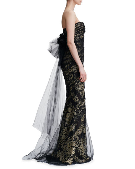 Sweetheart-Neck Damask Metallic Brocade Mermaid Evening Gown w/ Tulle Overlay