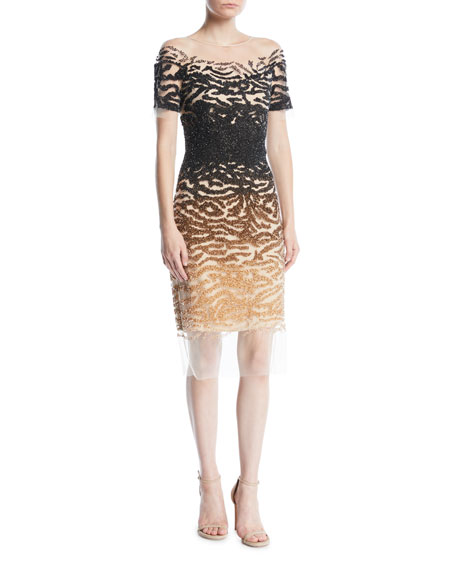 PAMELLA ROLAND SHORT-SLEEVE ILLUSION OMBRE-SEQUIN BODYCON COCKTAIL DRESS