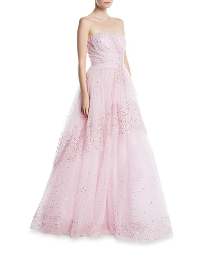 Strapless Sequin-Embroidered Tulle Ball Gown