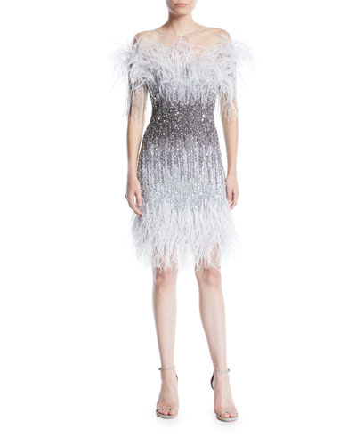 Ostrich Feather Ombre Sequin Embroidered Cocktail Dress