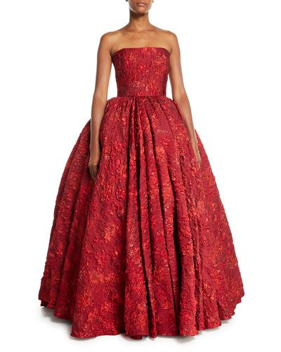 Strapless Metallic-Brocade Evening Ball Gown