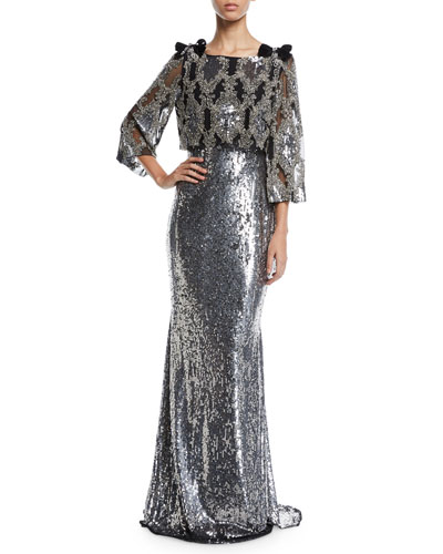 Allover Beaded Popover Paillette Evening Gown w/ Bow Details