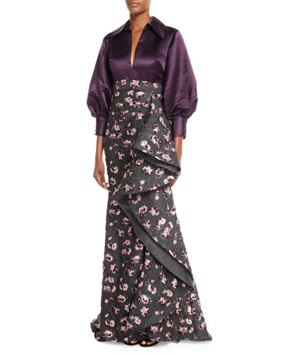 Split-Neck Long-Sleeve Satin-Top Cascade Floral-Embroidered Evening Gown