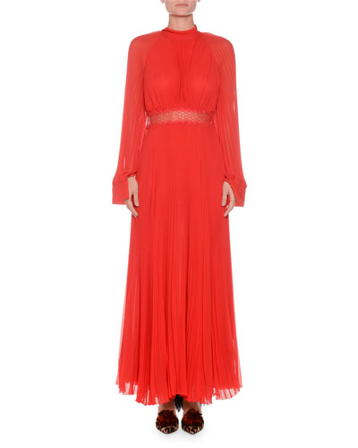High-Neck Long-Sleeve Pleated Silk Gown w/ Lace Waist