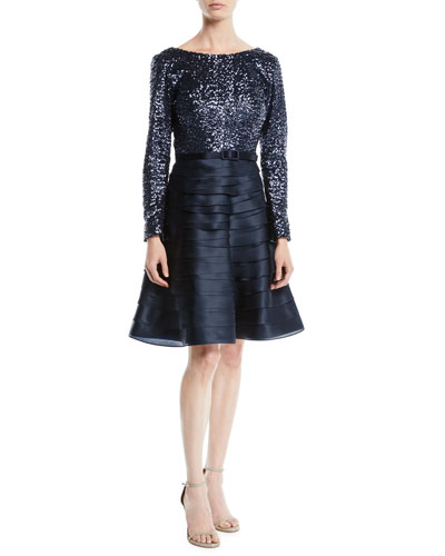 Boat-Neck Long-Sleeve Sequin-Top Tiered Organza Cocktail Dress