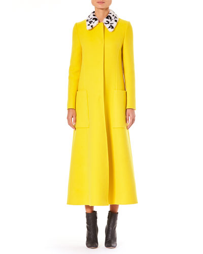 Fur-Collar Single-Breasted A-Line Long Wool Coat