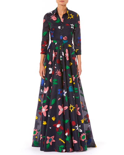 3/4-Sleeve Button-Front Floral-Embroidered Full Evening Gown