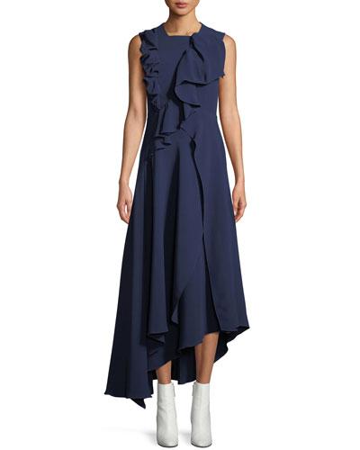 Sleeveless Asymmetric Ruffle A-Line Viscose Crepe Dress
