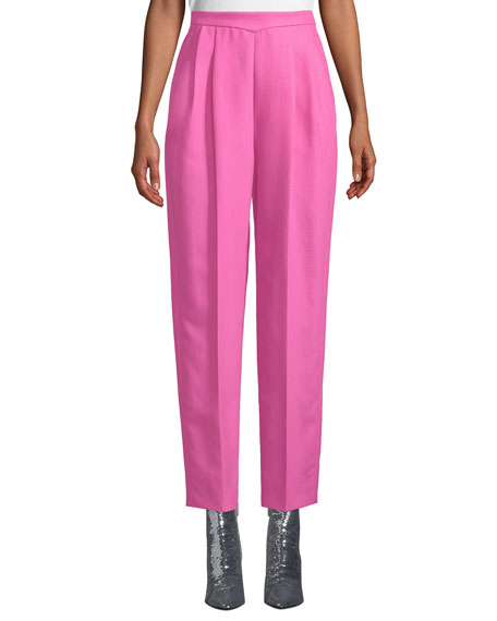 Delpozo Fleece Wool-Silk Skinny-Leg Pants