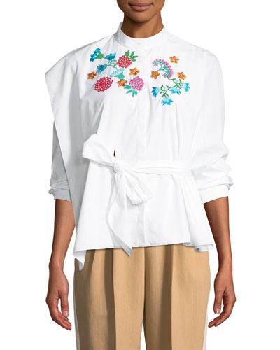 Floral-Embroidered Belted Long-Sleeve Poplin Top