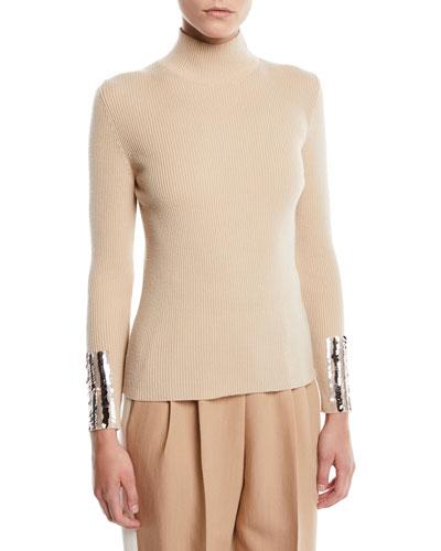 Turtleneck Ribbed Merino Wool Sweater w/ Sequin Wrist