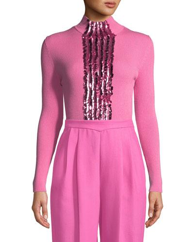Turtleneck Long-Sleeve Wool Sweater w/ Paillette Embroidery