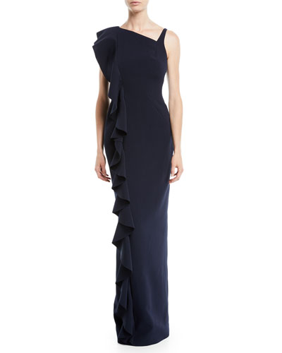 Sleeveless Ruffled-Frill Stretch-Crepe Column Evening Gown