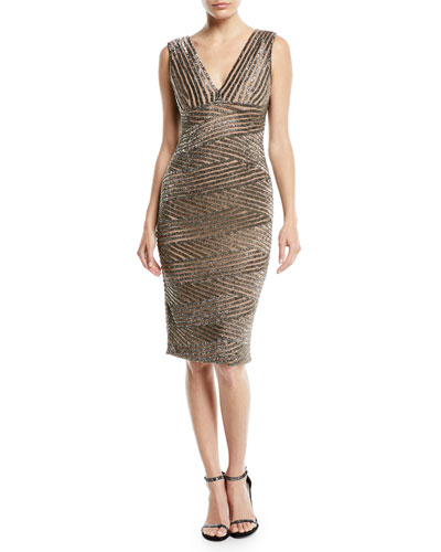V-Neck Sleeveless Striped-Sequin Cocktail Dress