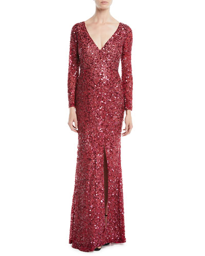 V-Neck Long-Sleeve Sequin Embellished Evening Gown