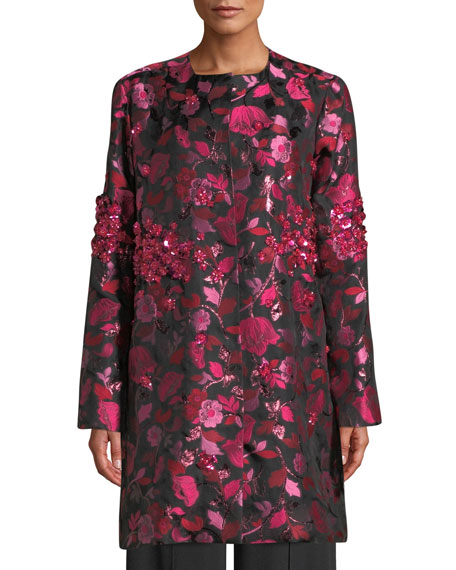 Jeweled Floral-Jacquard Topper Jacket