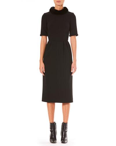 Mink-Fur Short-Sleeve A-Line Wool Midi Dress