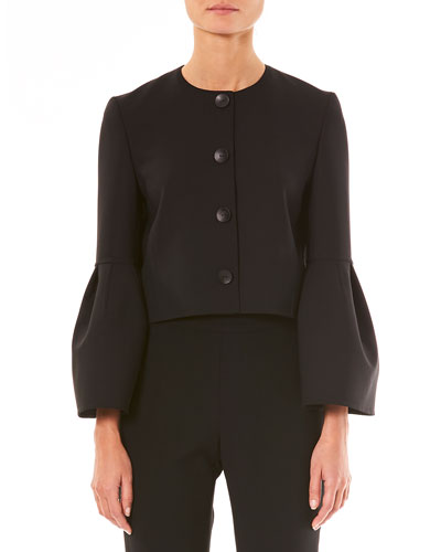Button-Front Bell-Sleeve Cropped Wool-Blend Jacket