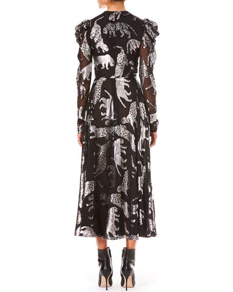Metallic Wildcats V-Neck Long-Sleeve Gathered Dress