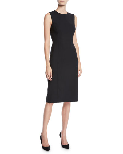 Crewneck Sleeveless Wool Sheath Dress