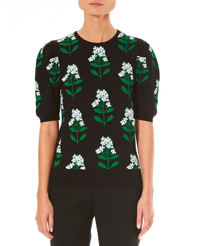 Crewneck Short-Sleeve Floral-Jacquard Top