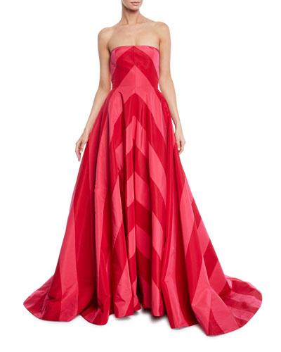 Strapless Chevron Striped Gown