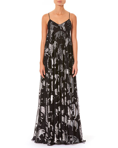 V-Neck Spaghetti-Strap Metallic Wildcats Billowy Evening Gown