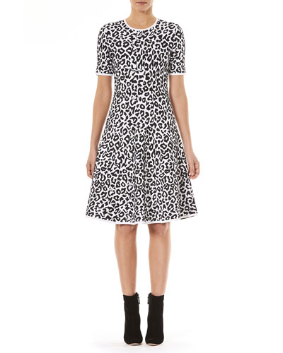 Crewneck Short-Sleeve Leopard-Jacquard Knit Fit-and-Flare Dress