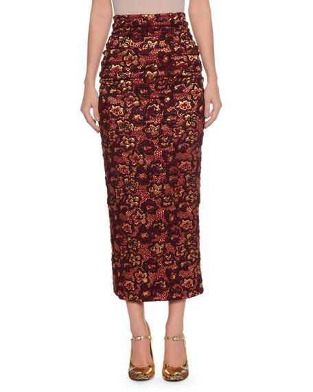 Metallic Floral-Cloque Ruched Fitted Tea-Length Skirt