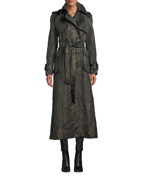J MENDEL DOUBLE-BREASTED BELTED METALLIC BROCADE TRENCH COAT