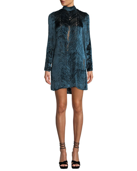 Long-Sleeve High-Neck Velvet Burnout Cocktail Dress