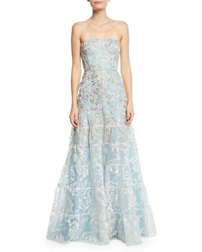 Strapless Floral-Embroidered Overlay Gown