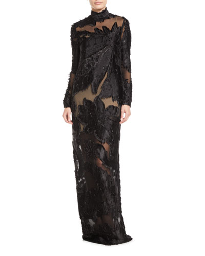 High-Neck Long-Sleeve Floral Illusion Column Evening Gown