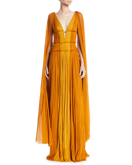 J MENDEL DEEP-V CAPE-SLEEVE FITTED-WAIST COLORBLOCK DRAPED EVENING GOWN
