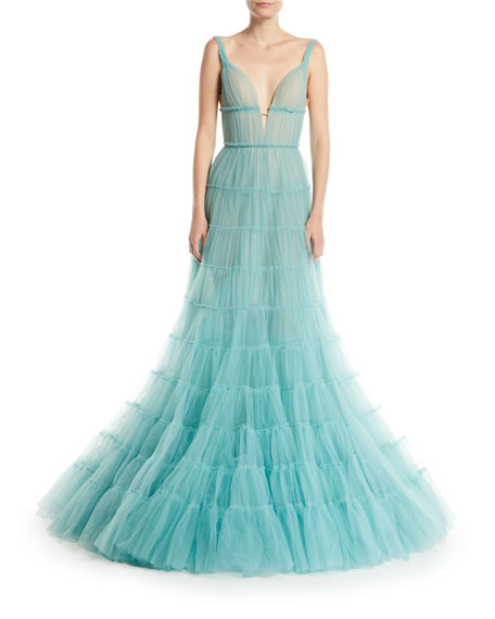 Deep-V Tiered Tulle Evening Gown