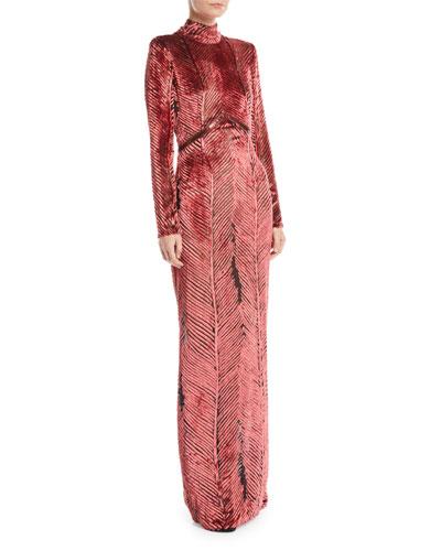 Turtleneck Long-Sleeve Chevron Velvet Burnout Evening Gown