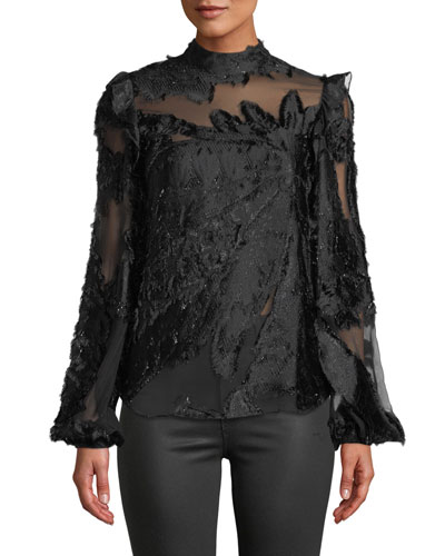 Mock-Neck Long-Sleeve Floral Illusion Top