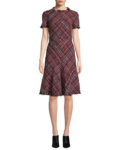 Short-Sleeve Fit-and-Flare Tweed Knee-Length Dress