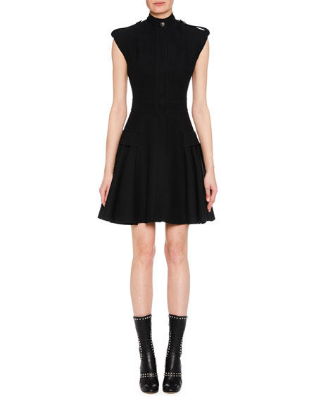 HIGH-NECK CAP-SLEEVE FIT-AND-FLARE MILITARY WOOL SHORT DRESS