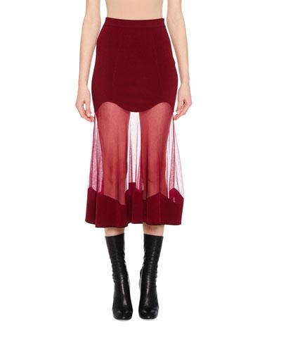 Ribbed-Knit Sheer Panel Midi Skirt