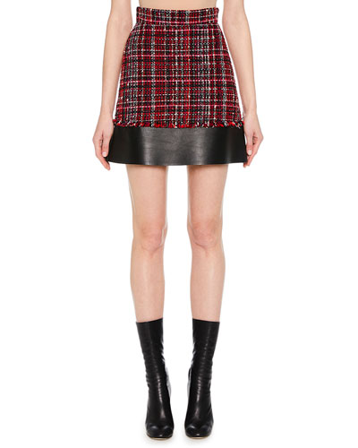 Tweed Mini Skirt w/ Leather Hem