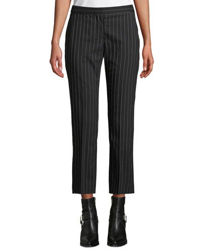 Pinstripe Stretch-Wool Cropped Cigarette Trousers