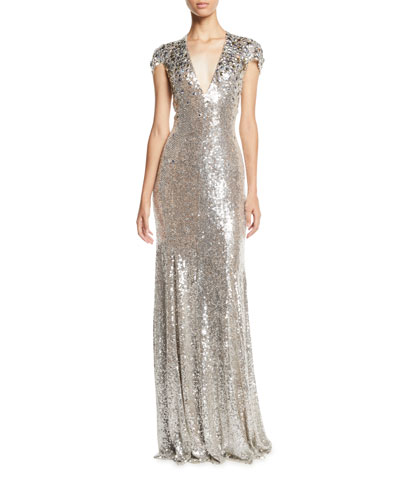 Short-Sleeve V-Neck Column Evening Gown w/ Crystalized Beading