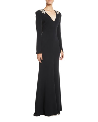 V-Neck Long-Sleeve Trumpet Evening Gown w/ Crystalized-Beaded Trim
