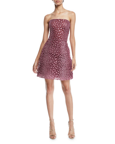 Strapless Embroidered Fit-and-Flare Cocktail Dress