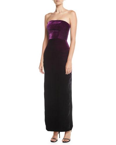 Strapless Ombre Velvet Column Evening Gown