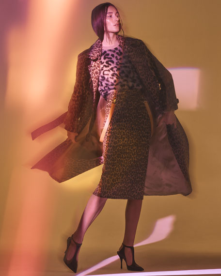 Double-Breasted Leopard-Print Wool-Alpaca Trench Coat